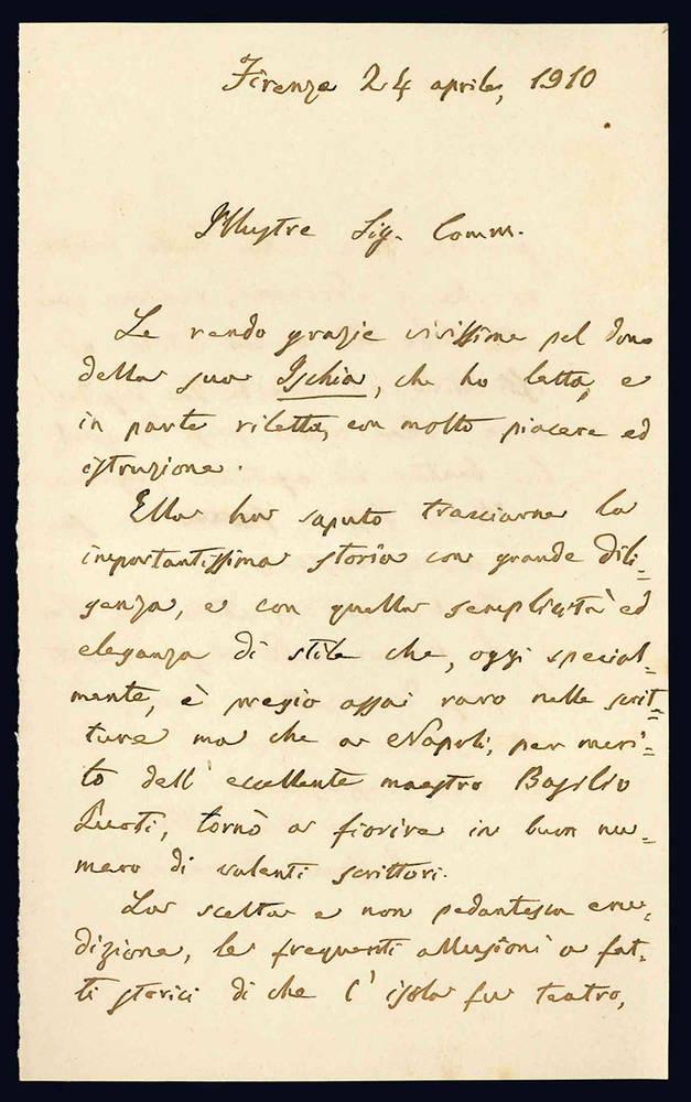 Lettera autografa. Firenze: 24 aprile 1910.