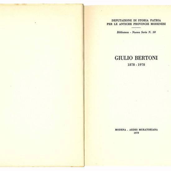 Giulio Bertoni 1878-1978.