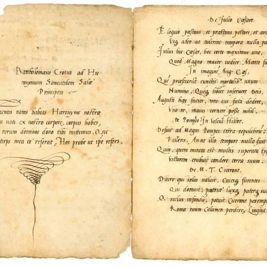 [Carmina] ad Hieronymum Sanvitalem Salae Principem. Manoscritto cartaceo (autografo?). [Reggio Emilia?], prima metà del XVI secolo