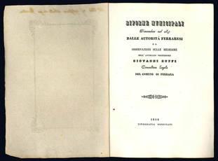 Riforme municipali dimandate nel 1847 dalle autorità ferraresi.