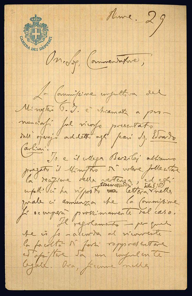 Lettera autografa. Roma: [29 novembre 1903].