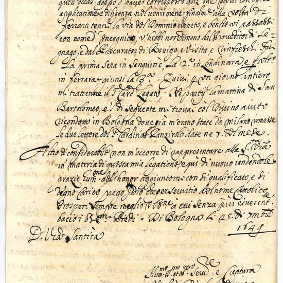 Relazione del suo viaggio da Bologna a Milano per incontrare Maria Anna d'Austria Regina di Spagna