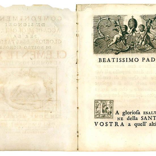 Componimenti de' signori accademici Quirini per la gloriosa esaltazione di nostro signore Clemente XIII. al sommo pontificato.