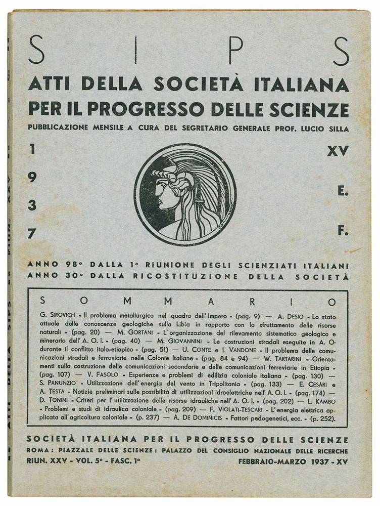 Lotto di 12 numeri degli Atti della Società italiana per il progresso delle scienze.