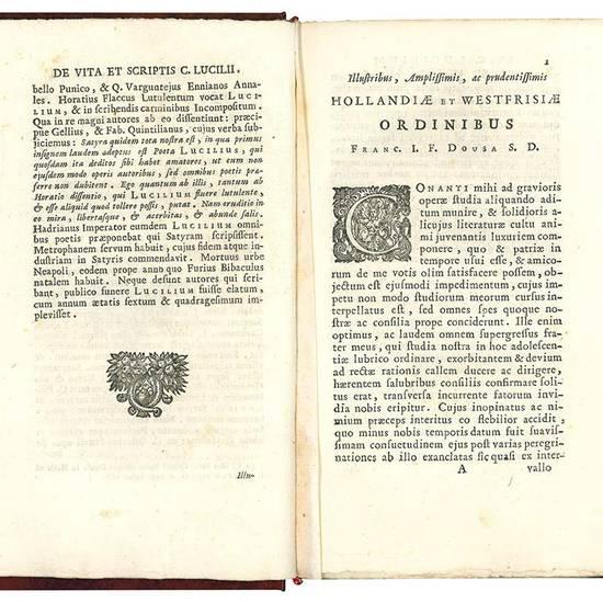 Caji Lucilii Suessani Auruncani ... Satyrarum quae supersunt reliquiae. Franciscus Jani F. Dousa collegit, disposuit, & notas addidit. Editio II. Lugduno-Batava auctior, & emendatior.