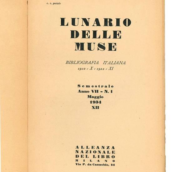 Lunario delle muse. Bibliografia italiana semestrale.