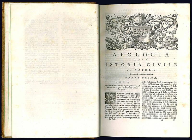 Opere postume di Pietro Giannone in difesa della sua Storia civile del regno di Napoli