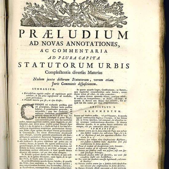 Observationes forenses, sive Commentaria ad varia capita statutorum almae urbis.