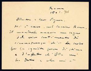 Lettera autografa. Roma: 15 gennaio 1906.