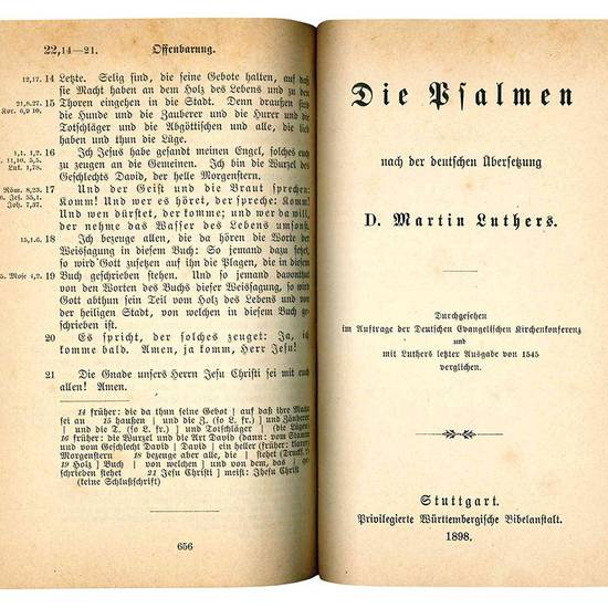 Das Neue Testament unseres herrn und heilandes Iesu Christi, nach der deutschen Ubersetzung D. Martin Luthers. Durchgesehen im Auftrag der Deutschen Evangelischen Kirchenkonferenz und mit Luthers letzer Ausgabe vom Jahr 1545 verglichen (Insieme a:) Die P
