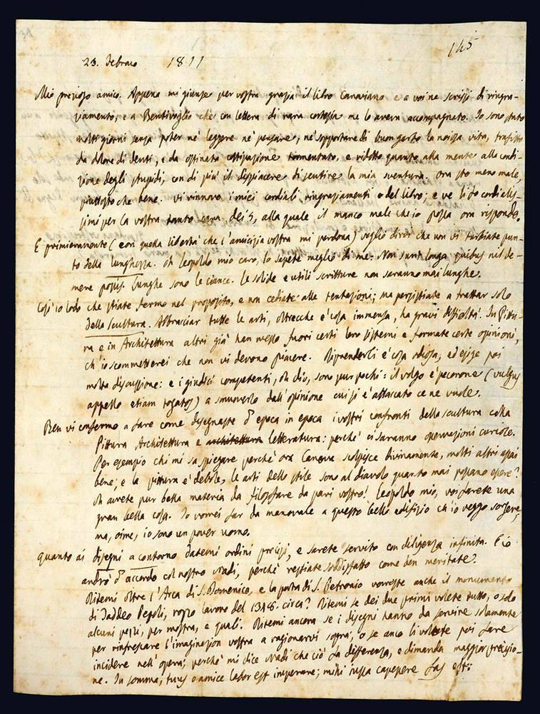 Lettera autografa a Leopoldo Cicognara. 23 febbraio 1811.