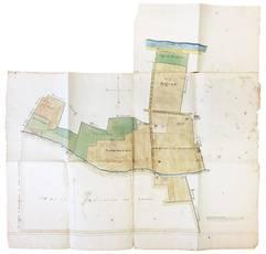 Grande carta catastale o cabreo di un'area nel territorio di Ferrara.