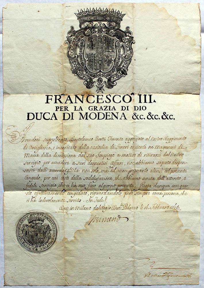 Congedo di Bartolomeo Cerotti, Tenente aggregato del Reggimento di Artiglieria