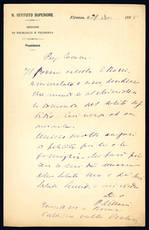 Lettera autografa. Firenze: 29...1898.