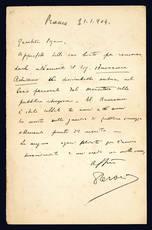 Lettera autografa. Roma: 31 gennaio 1904.