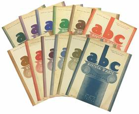"""Lotto di dodici numeri de """"abc Rivista d'arte"""". Anno VII - N. 1-12 (annata completa 1938)."""