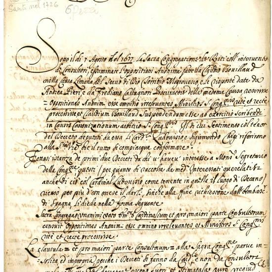 """Documenti riguardanti la cosiddetta """"Causa Limana"""" per la beatificazione di San Turibio Alfonso"""
