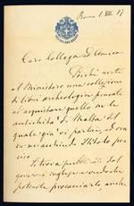Lettera autografa. Roma: 1° luglio 1887.