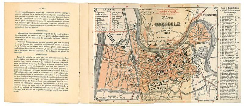Grenoble - notice illustree avec plan de la ville