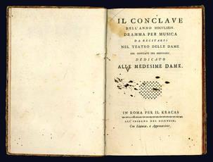 Il conclave dell'anno 1774. Dramma per musica