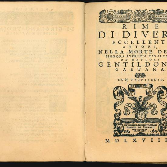 Lettera consolatoria di Girolamo Troiano, con alcune rime di diversi eccellenti autori nella morte della signora Lucretia Cavalcanti gentildonna Gaetana