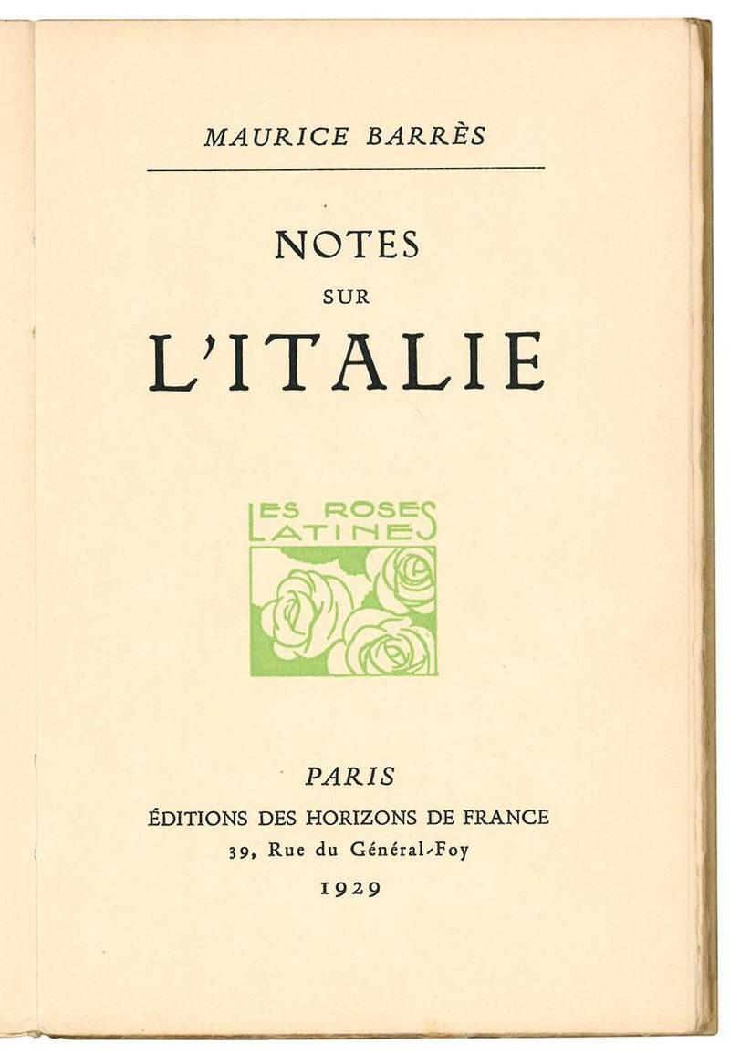 Notes sur l'Italie.