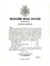 Notificazione del 17 Luglio 1849, con la quale si intendeva favorire l'esportazione della canape