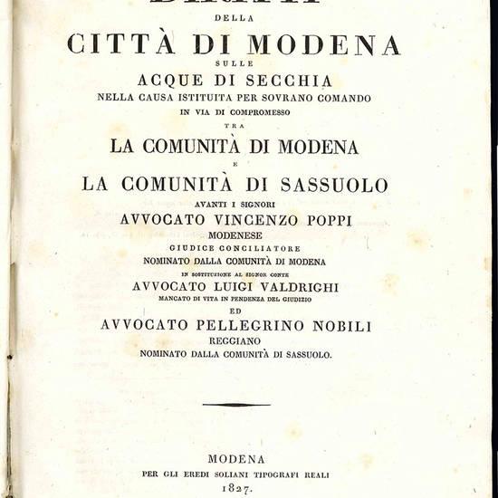 Diritti della città di Modena sulle acque di Secchia