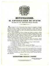 Notificazione del 1 Maggio 1847, con la quale si intendeva dare impulso alla fabbricazione dei drapp