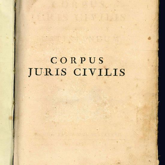 Corpus Juris Civilis quo jus universum Justinianeum comprehenditur. Tomus I (-II).