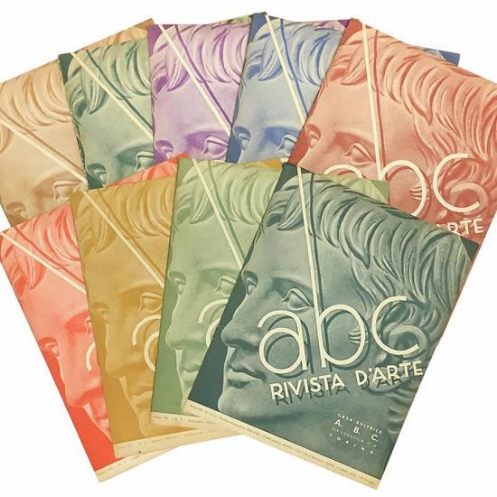 """Lotto di nove numeri di """"abc Rivista d'arte"""". Anno VIII."""