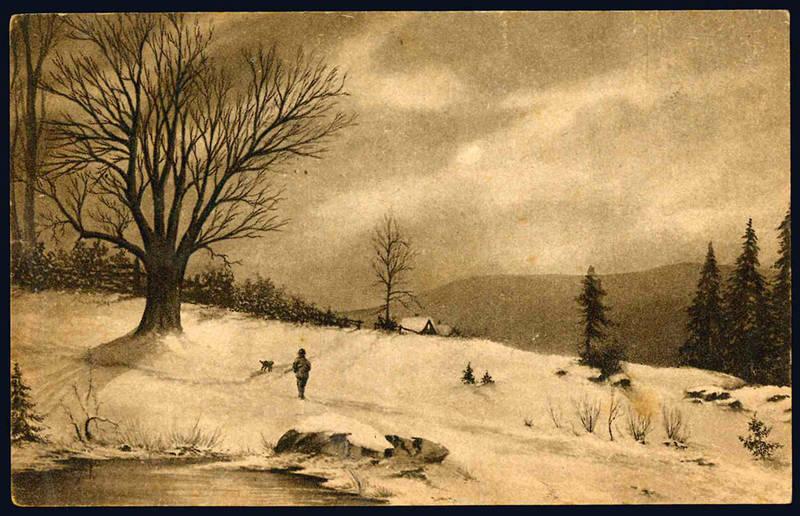 Cartolina color seppia raffigurante un paesaggio innevato