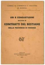 Usi e consuetudini relativi ai contratti del bestiame nella provincia di Modena