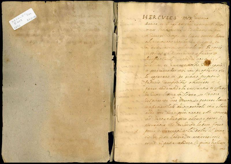 Provisione fatta dal fermo Prencipe Ercole duca di Ferrara sopra li beni del Reggiano.