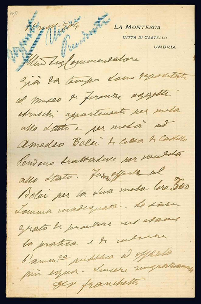Lettera autografa. 21 novembre 1904.