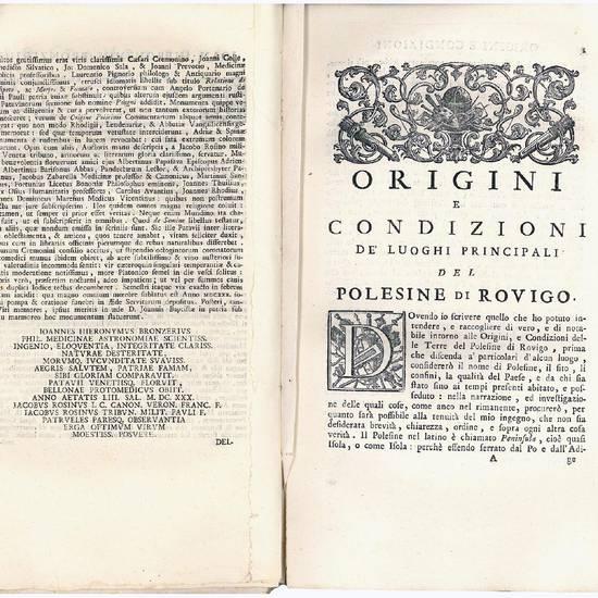Istoria delle origini e condizioni de? luoghi principali del Polesine di Rovigo di Giangirolamo Bronziero ora per la prima volta data in luce, [...]