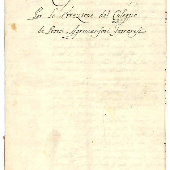 Raccolta di manoscritti e documenti autografi inerenti l'agrimensura