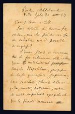 Lettera autografa. Portici Addolorati. Villa Zelo: 20 settembre 1887.