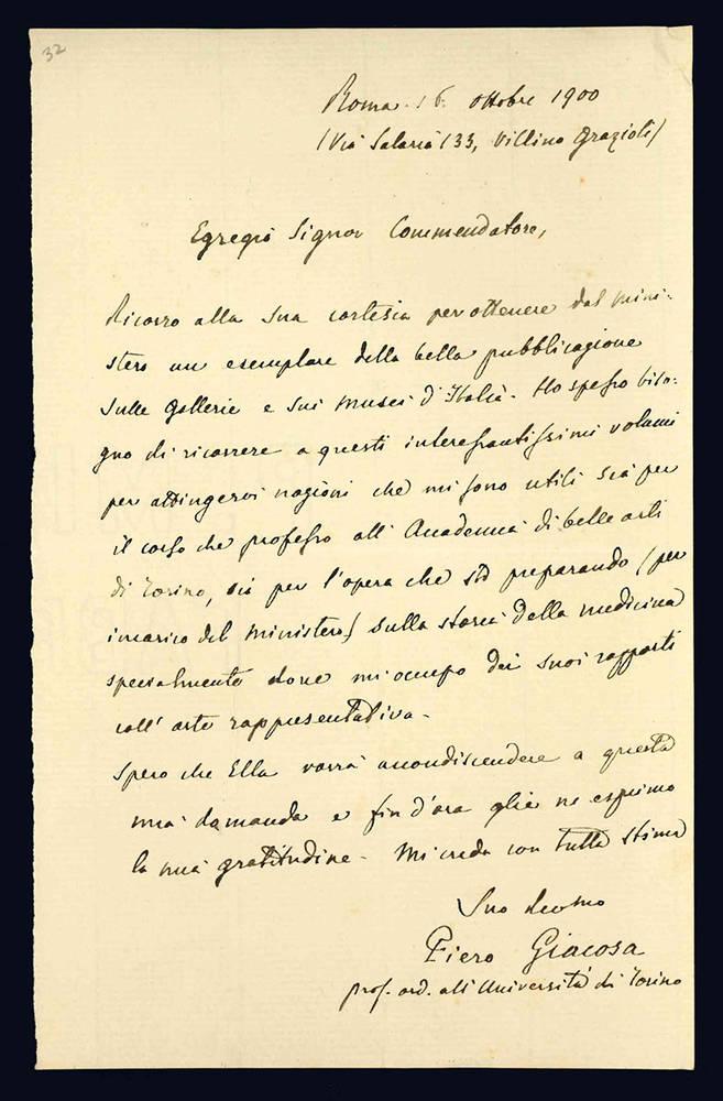 Lettera autografa. Roma: 16 ottobre 1900.