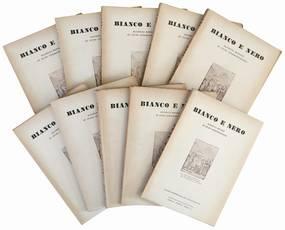 """Lotto di tre annate complete del periodico """"Bianco e Nero. Rassegna mensile di studi cinematografici"""". Anno IX (1948), X (1949) e XI (1950)."""