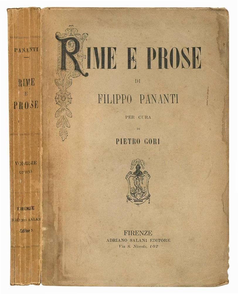 Rime e prose di Filippo Pananti con un cenno della sua vita e la bibliografia degli scritti per cura di Pietro Gori.