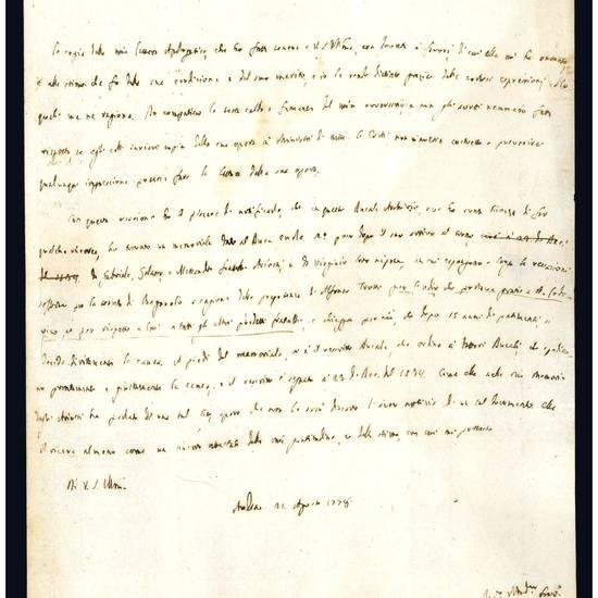 Archivietto composto da quindici lettere autografe indirizzate ad Antonio Frizzi (1736-1800)