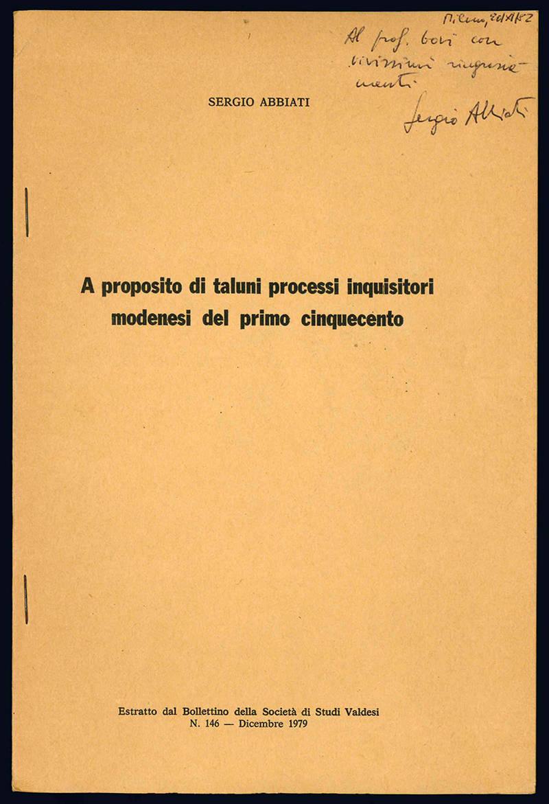 A proposito di taluni processi inquisitori modenesi del primo cinquecento.