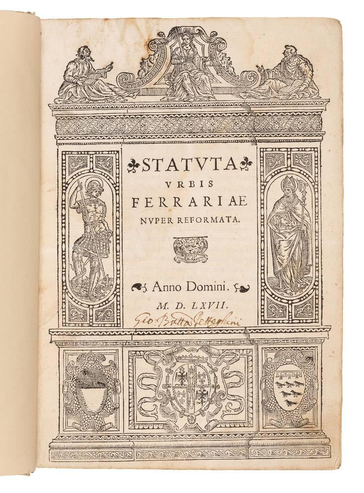 Statuta urbis Ferrariae nuper reformata. M.D.LXVII. (1567)