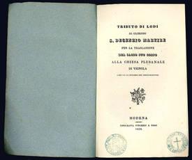 Tributo di Lodi al glorioso S. Decenzio martire per la traslazione del sacro suo corpo alla chiesa plebanale di Vignola addì VII di ottobre del MDCCCXXXVIII