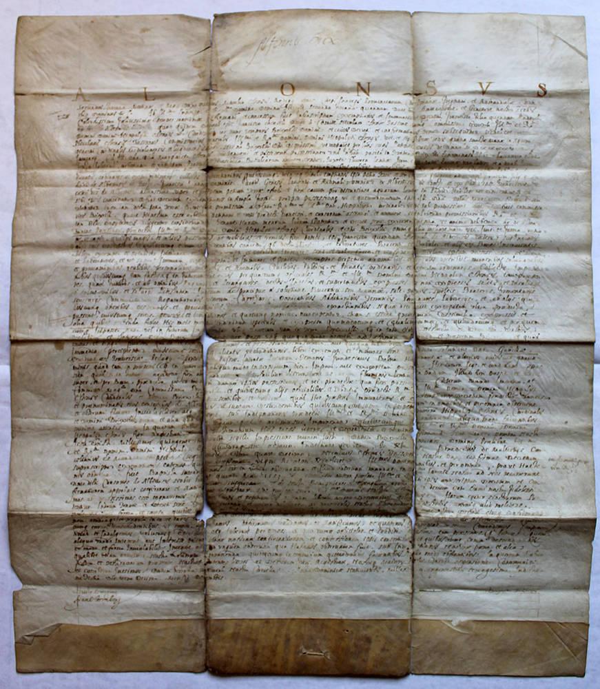 Grande documento notarile in latino su pergamena