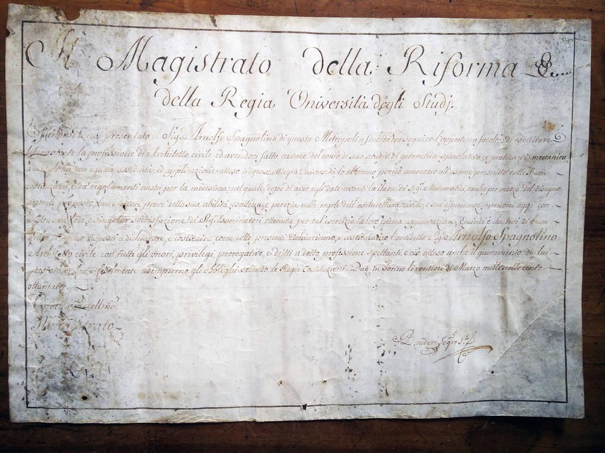Patente di laurea di Arnolfo Spagnolini