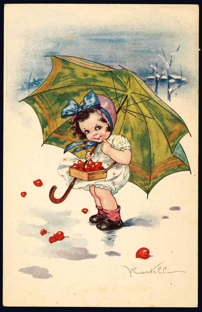 4 cartoline raffiguranti bambini