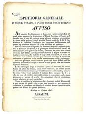 Avviso del 21 Giugno 1823, con il quale si regolamentava l'estrazione di Arene od altre materie dall