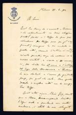 Lettera autografa. Milano: 28 giugno 1900.